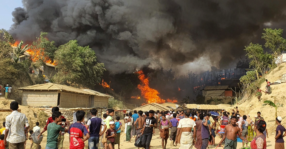 A fire swept through a Rohingya refugee camp