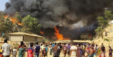 A fire swept through a Rohingya refugee camp